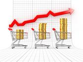 Sales growth. shopping basket with coins. 3d Stock Illustration