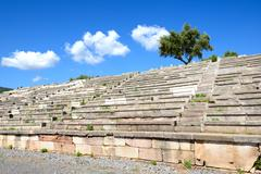 The stands on stadium in ancient messene (messinia), peloponnes, greece Stock Photos