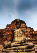 thai buddha statue in wat mahathad , ayutthaya thailand - stock photo