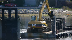 Dredging video with back hoe Stock Footage
