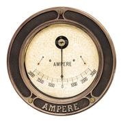 vintage ampere meter isolated on white - stock photo