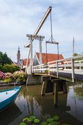 ancient bridge in the dutch village edam - stock photo