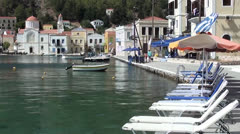 Seafront street Kastellorizo island Stock Footage
