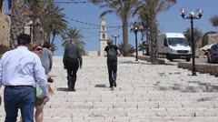 Walking in Jaffa Old City Street Stock Footage