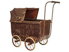 nineteenth century baby pram isolated on white - stock photo