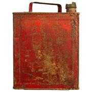 vintage red fuel can isolated on white - stock photo