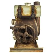 Old rusty motor engine isolated on white Stock Photos