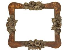 Old picture frame with wood cut grey flowers isolated on white Stock Photos