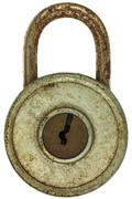 Vintage corroded padlock isolated on white Stock Photos
