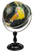 Antique black globe isolated on white Stock Photos