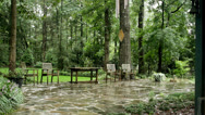 Stock Video Footage of stone path chairs heavy rain