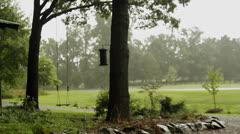 Rain farm house empty swing heavy rain Stock Footage