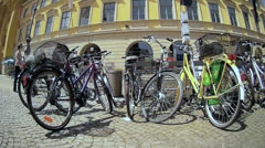 Fisheye group of Bicycle parking in urban center Stock Footage