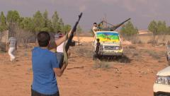 LIBYA - rebel with weapon 9 Stock Footage