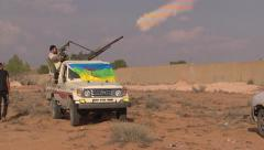LIBYA - rebel with weapon 8 Stock Footage