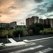 desolate suburb landscape - stock photo