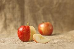 tasty red apples on table - stock photo
