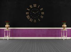 empty vintage black and purple room - stock illustration