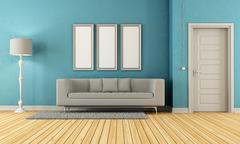 Blue and grey living room Stock Illustration