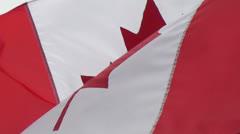 Canada flag waving slow Stock Footage