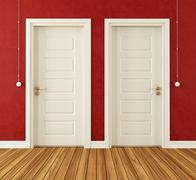 detail of two white doors - stock illustration