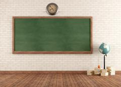 empty vintage classroom - stock illustration