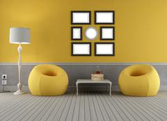 Stock Illustration of yellow and grey old interior