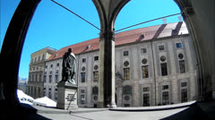 Tilt Fisheye Germany Munich Odeonsplatz Feldherrnhalle n Residenz Palace museum Stock Footage