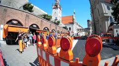 Fisheye Munich Viktualienmarkt market road block for construction Stock Footage