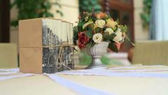 Waiter decorated table bouquet of flowers Stock Footage