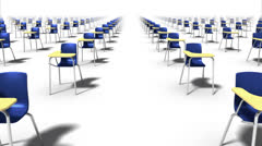 Dolly forward over many School Chairs to none (blue) Stock Footage