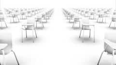Dolly forward over many School Chairs to none (white) Stock Footage