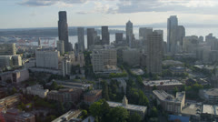 Aerial Cityscape view Downtown Seattle Finance Center, USA Stock Footage
