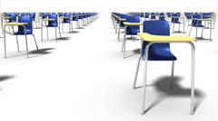 Endless School Chairs front view loop (blue) Stock Footage