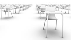 Endless School Chairs front view loop (white) Stock Footage