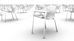 Sweeping across endless School Chairs front (white) Stock Footage