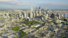 Aerial Downtown Seattle financial district Queen Anne Hill, USA Stock Footage