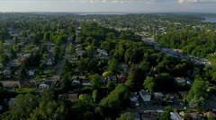 Aerial view of residential homes and suburbs, Seattle Stock Footage