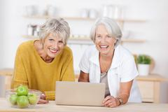 female friends with laptop leaning on kitchen counter - stock photo