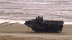 Amphibius Vehicles On Beach 03 Stock Footage