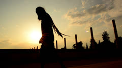 Dancing rapper with long dreadlocks Stock Footage
