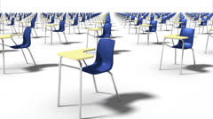 Sweeping across endless School Chairs front (blue) Stock Footage