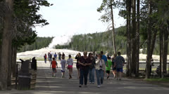 People going to see Old Faithful Geyser Stock Footage