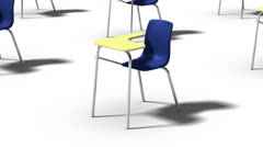 Endless School Chairs vertigo effect (blue) Stock Footage