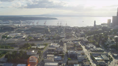 Aerial view Downtown Seattle Business Center, USA Stock Footage