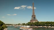 Stock Video Footage of 4K Timelapse of the Eiffel tower and la Seine with boats. Ultra high definition