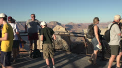 People posing in front of Grand Canyon Stock Footage