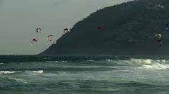 Kitesurf in a brazilian beach Stock Footage