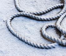 Frozen ship cable Stock Photos