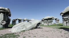 Wide angle view of Carhenge Stock Footage